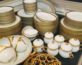large set of German Gold and White bone china--we have several sets of china