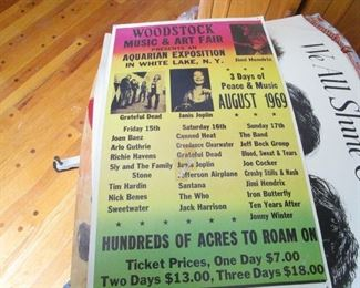 One of many posters and music memorabilia from the late 60s