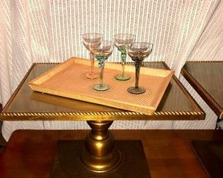 Pair of 1960s Gold Glass Top Tables