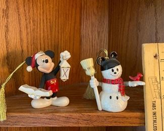 Mickey Mouse and Snowman Lenox Ornaments 25.00