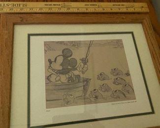Mickey Fishing Framed $18.00