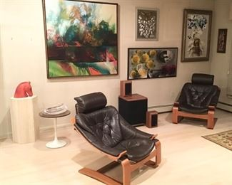 Pair Ake Fribytter for Nelo Mobler Sweden Lounge Chairs w/ one Ottoman, Blackwell o/c, G. Valentin Tile and Mixed Media, L. Whittaker Painting