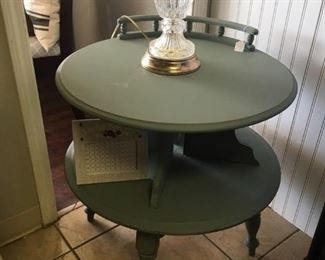 Painted Two Tier Table and Lamp