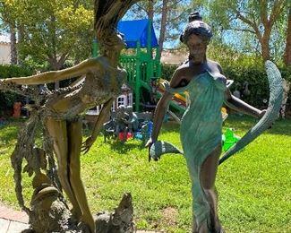 Bronze fountain ladies