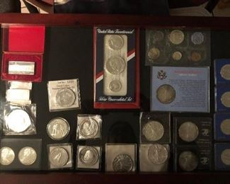 Silver coins,medals,and collections
