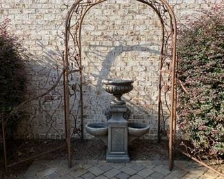 Large Iron Arbor and Fountain