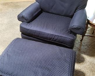 Overstuffed Blue Chair with Ottoman