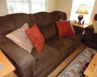 Flexsteel  Furniture. Brown Cord Fabric. Reclining Ends.       3 Cushion Sofa