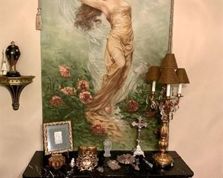 Original hand painted Tapestry.   Painted in 1904.   Documentation avail on on this piece.
