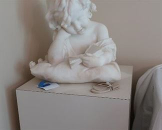 1901  Emilo  Flaschi  marble  statue  of  child(  as  is)