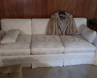 "white  3  cushion  sofa     84""  and  small  mink  jacket"