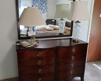 Mahogany  double  dresser  with  mirror