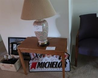 rectangular  table  and  pattern  lamp, beer  signs