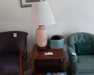 mahogany  table, one  of  two matching  lamps,  green  chair