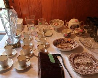 cups and saucers, johnson brothers  china,snake  purse
