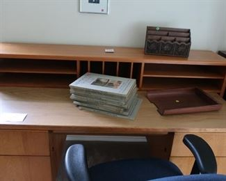 """desk,office  chair-  desk  is 2'3"""" deep and 5'2 1/2 """"  wide"""