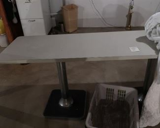 """long  table  with two  metal  bases-  table  is 1' 11"""" deep  and  6'1""""  in  length"""