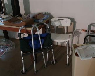 handicap  equipment- walkers, bath chair
