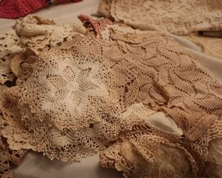 lots  of  crocheted  linens