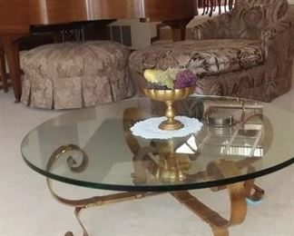 Formal living room furniture ,glass coffee table brass bottom, chaise lounge, ottoman