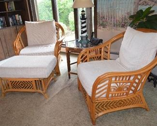 6 pc set Rattan Sitting Club Chairs (2) one Ottoman (1) Love-Seat and (2) End Tables