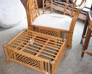 """2 Club Chairs 37 1/2""""W x 28""""D x 34""""H Ottoman 27""""W x 19""""D x 18""""H"""