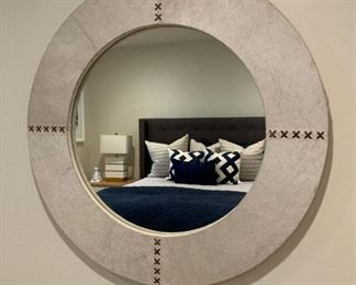 Large Hide mirror $410   REG $1,219.00   GOOGLE IT! https://www.lampsplus.com/products/jamie-young-cross-stitch-white-hide-36-inch-round-wall-mirror__5n598.html