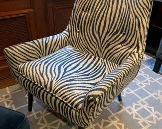 "1. Pair of Jonathan Adler Zebra Chairs (26"" x 30"" x 32"")"