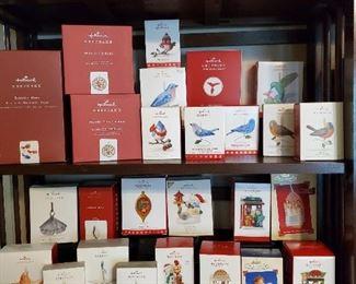 Birds and Seashells and Christmas Windows Hallmark Ornaments