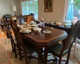 THIS BEAUTIFUL ANTIQUE DINING SET WITH 3 SIDEBOARDS AND 6 CHAIRS.  WE WILL BREAK UP ON SATURDAY. BUILT BY BUCKINGHAM MFG IN NEWARK NJ!! STUNNING AND IN BEAUTIFUL CONDITION!