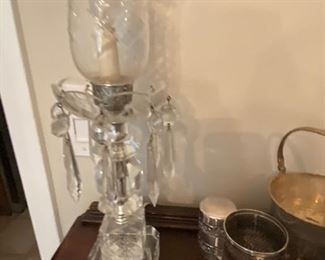 PAIR OF CRYSTAL MANTLE LAMPS