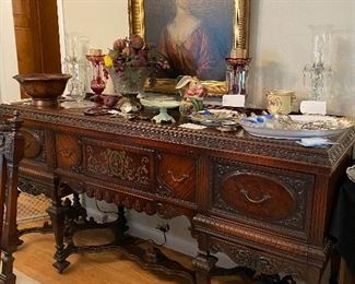 """THIS BEAUTIFUL ANTIQUE DINING SET WITH 3 SIDEBOARDS AND 6 CHAIRS.  WE WILL BREAK UP ON SATURDAY. BUILT BY BUCKINGHAM MFG IN NEWARK NJ!! STUNNING AND IN BEAUTIFUL CONDITION!  80""""(6'8"""")W x 24""""D x 41""""H"""