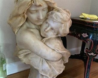 MARBLE MOTHER & CHILD BUST- 2 PIECES