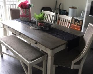 """Gorgeous farmhouse style dining table with 4 chairs and a bench! Less than 2 years old! Table measures 40"""" x 72"""" - $600"""