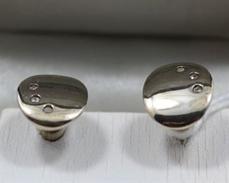 Sterling Cuff Links with diamonds