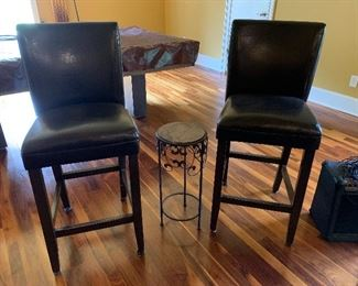 "#44	Lot of 2 leather bar stools 28"" seat height and side table 24""H	 $50.00"