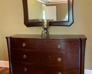 "#54	Brownstone Paloma collection mahogany with walnut finish 6 drawer dresser with mirror. 67""x21""x40""	 $250.00"