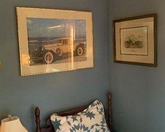 Guest bedroom  Twin bed, vintage car prints framed