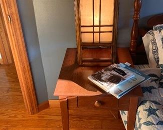 Guest bedroom  Cherry end table Craftsman style light