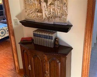 Foyer Wood half moon cabinet The arrest of Paul Revere plaster relief