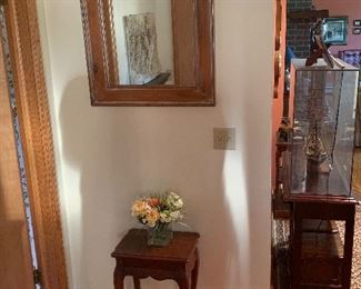 Foyer  Wood mirror End table