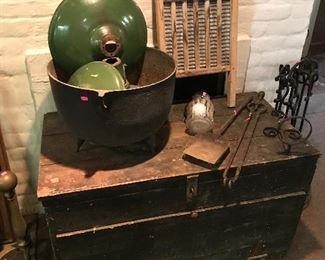 Tool chest  Cast iron fire set  Cast iron cauldron Metal light shades  Budweiser framed art  Cast Iron