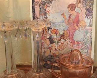 Candle sticks  Depression glass measuring cup and juicer  Artwork