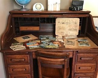 Roll top desk and chair Postcards Rockford advertising Local advertising