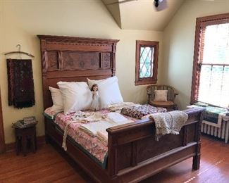 Eastlake wood bed  Bride dolls vintage  Quilts  Wool throw  Vintage books Vintage linens  Vintage bedspreads  Afghan  Pillows Chair Scarfs and hankies