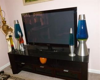 "50"" Samsung Plasma, Awesome glass-top tv stand, 5 Lava Lamps incl. 2 that are 26"" tall!"