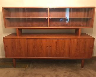 $2,800  Absolutely stunning teak buffet and hutch. Made in Denmark by Dyrlund.