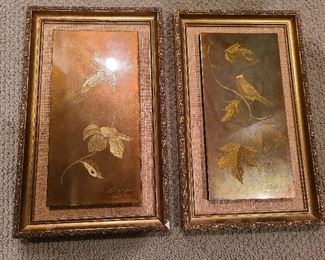 Bird and Leaves etched on metal