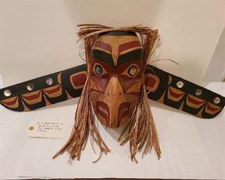 Lot 4 Haida Eagle in flight cedar mask Ed Shane 11 x 31 1960s