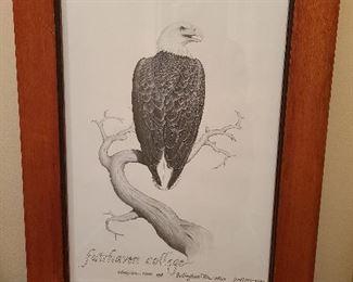 Fairhave College Eagle poster framed